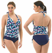 Halterneck Tankini Swimming Costume FLORAL Navy Blue Floral Padded Pink Aqua