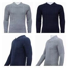 Mens Knitted Shawl Chunky Cable Button Knitwear Jumper