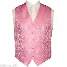 New Men's PINK XS to 6XL Paisley Tuxedo Suit Dress Vest Waistcoat Wedding Prom