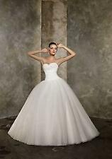 New White Ivory Pleat Beads Train Ball Wedding Dress 6 8 10 12 14 16 BV564