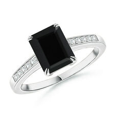 Emerald Cut Black Onyx Cocktail Ring with Diamond Accents Size 3-13