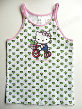 Hello Kitty Tank Top Sleeveless Shirt Green Apples Tricycle Green Sanrio H&M NWT