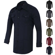 Mens Casual Slim Fit Formal Shirts Top Long Sleeve Shirt Military Style S M L XL