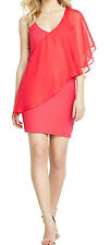 DEFINITIONS RED FRILL FRONT BODYCON MINI DRESS TOP SIZE12,14  BNWT