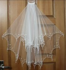 2T Wedding Veil White/Ivory handmade beaded bridal Vail elbow beaded edge Veils
