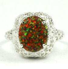 Created Black Opal, 925 Sterling Silver Ring, SR009-Handmade