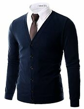 Mens Cardigan 162D 138 Doublju Classic Button Down Comfortable V-Neck