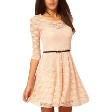 Women Summer Casual Dress Spoon Neck Three Quarter Sleeve Lace With Belt