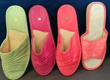 Ladies Womens Wedge100% Natural Leather Slippers Mules Slip On Open Sandals Size