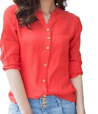 Women Casual Blouse Linen V Neck Top Red Long Sleeve Fashion Shirt Cotton