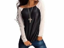 Women Long Sleeve Crew Neck T Shirt Solid Patchwork Slim Tops Stylish !!!