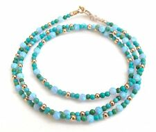 14k solid rose gold turquoise opal beads gemstone bracelet wrap blue green gem