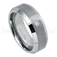 0.07ct Amethyst Solitaire Ring, February Birthstone, Tungsten Wedding Band #003