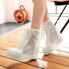 Womens Leather High Wedge Heels Hollow Lace-up Platform Boots Shoes Fine!!