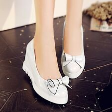 Womens Synthetic Leather High Wedges Heels Platforms Slip-on Pumps Lady Shoes
