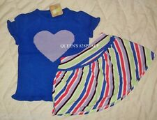 Nwt Crazy 8 blue heart sweater top striped skort skirt Girls 4T or 5T set outfit