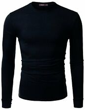 Crew Neck T-Shirts CMTTL056 41 Doublju Mens Long Sleeve Side Button