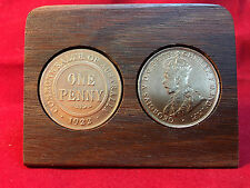 1922 Birthday Gift Present Jarrah Plaque w/ 1922 original penny other years avai