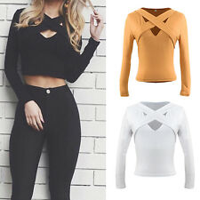 WOMEN SEXY CROSS DEEP V NECK LONG SLEEVE CROP TOP CLUBWEAR PARTY T-SHIRT SUPREME