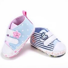 Toddler Baby Girl Boy Soft Sole Crib Prewalker Canvas Sneakers Trainer Shoes New
