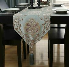 Hot Table Runner European Decorative Damask Embroidered Tassel Cloth Bed Flag
