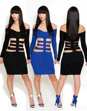 Womens Summer Long SleeveBandage Strapless Bodycon Short Midi Club Dress