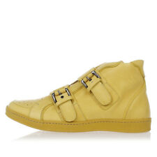 DSQUARED2 New Men Yellow Leather Sneakers Vacchetta Buckle Shoes Made Italy