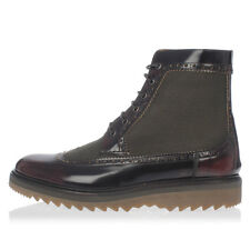 MARC JACOBS New Men Brown leather Dark Red Boots shoes Made in Italy