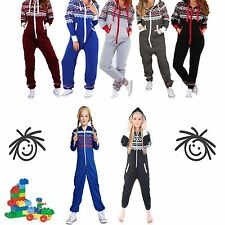 Kids Girls Boys Childrens AZTEC Print Hooded ALL IN ONE Onesie JUMPSUIT Playsuit