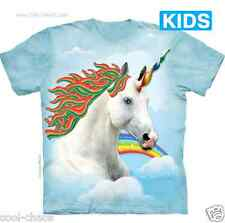 Whimsical Candy Unicorn Kid's T-Shirt/Blue Sky Clouds Tie Dye,Rainbows,Pony,Love