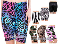 WOMENS LADIES CYCLING PRINTED SHORTS CYCLE SHORTS PLUS SIZE FITS SIZE  8-24