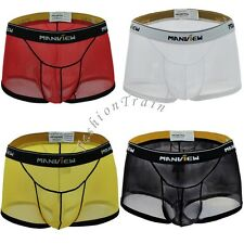Sexy Men's Mesh Sheer Boxer Briefs Breathable Shorts Trunk Underwear Underpants