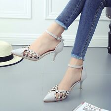 Women High Heeled Sandals Wild Hollow Rivets Buckle With Pointed Shoes |UK|