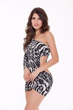 Womens Leopard Miniskirt One Shoulder Sleeve Cultivate One's Morality Club Dress