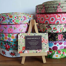 1 Metre Floral/Ditsy Grosgrain ribbon 22mm/25mm Party Cake/ Hair Bows/ Gift Wrap