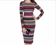 Women's Elegant Colorful Stripe Print Dress For Casual And Party.