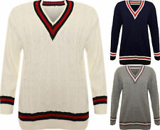 New Womens Plus Cable Knitted Cricket Stripe Ladies Long Sleeve V Neck Jumper