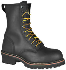 Golden Retriever Mens Black Buffalo Leather Boots Steel Toe 9in Logger