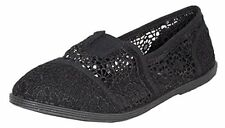 Soda Kid's Girly Mock Toms Flower Crochet Slip On See Through Flats with Top