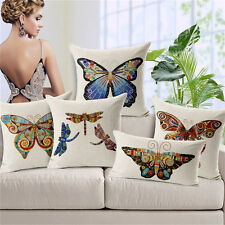 American Colourful Butterfly Cushion Covers Cotton Linen Throw Pillow Case
