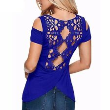 Women Lace Crochet Short Sleeve Backless Off Shoulder Blouse Tee Top !!!!!