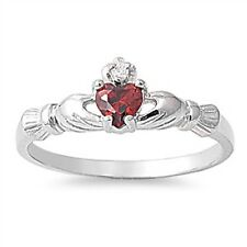 STERLING SILVER Red Garnet CZ Irish Claddagh Ring Size 4 5 6 7 8 9 / H J L N P R