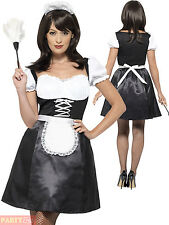 Adults French Maid Costume Ladies Sexy Cleaner Fancy Dress Womans Sassy Outfit
