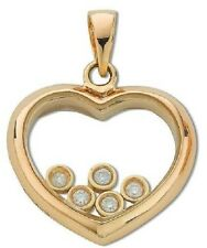 9CT YELLOW GOLD 0.15CT G/H SI1 DIAMOND FLOATING HEART PENDANT (& OPTIONAL CHAIN