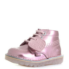 Kids Girls Kickers Kick Hi Infant Leather Pink Patent Ankle Boots Sz Size