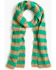 NWT UNOPENED J.Crew Ribbed striped cashmere scarf $168 color CAMEL EMERALD
