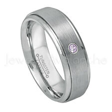 0.07ct Amethyst Solitaire Ring, February Birthstone, Tungsten Wedding Band #008