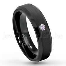 0.07ct Amethyst Solitaire Ring, February Birthstone, Black IP Tungsten Ring #168