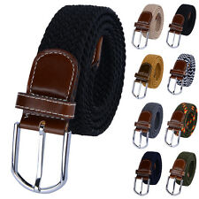 New Fashion Mens Braided Elastic Stretch Belts Cross Buckle Belt Cloth Waistband