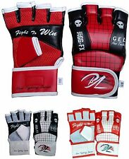 New Leather Gel Tech Training MMA UFC Grappling Gloves Fight Sparring Punch Bags